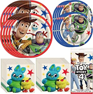 Unique Toy Story 4 Dinnerware Bundle Officially Licensed by Unique | Napkins, Plates, Tablecover | Great for Kids Birthday Party, Animated Theme, Pixar & Disney Celebration