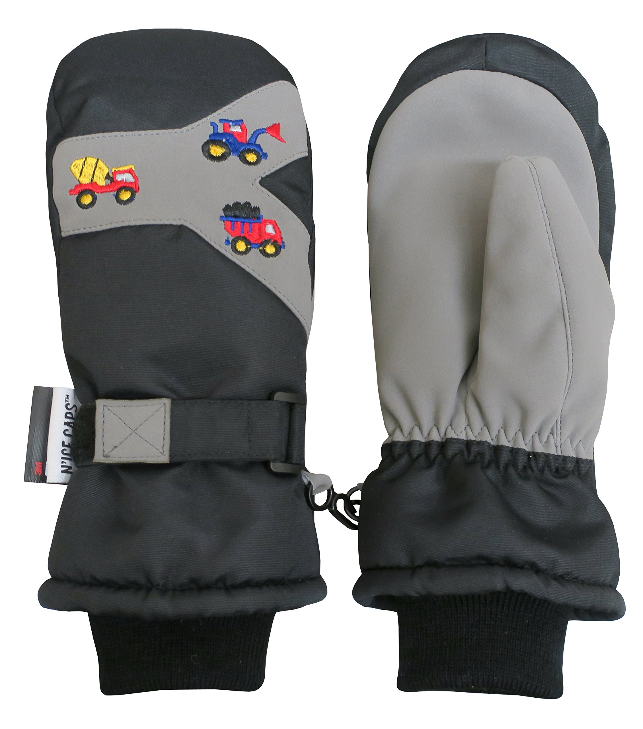 N'Ice Caps Kids and Baby Thinsulate Waterproof Colorblock Ski Snow Mittens (2-3yrs, Black/Grey Trucks Embroidery)