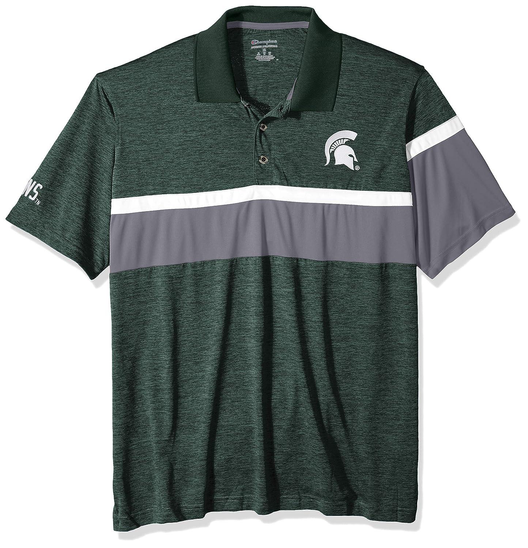 Dark Green Small NCAA Michigan State Spartans Mens NCAA Mens Short Sleeve Striped Polo Collared Teechampion NCAA Mens Short Sleeve Striped Polo Collared Tee