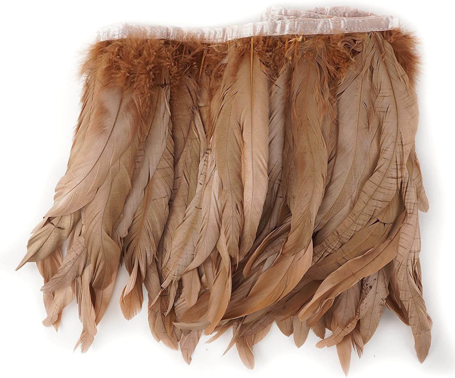 8-10 inch Sewing Craft Supply with Bias Tape Rose Gold ZUCKER 1 Yard Rooster Feather Fringe Trim