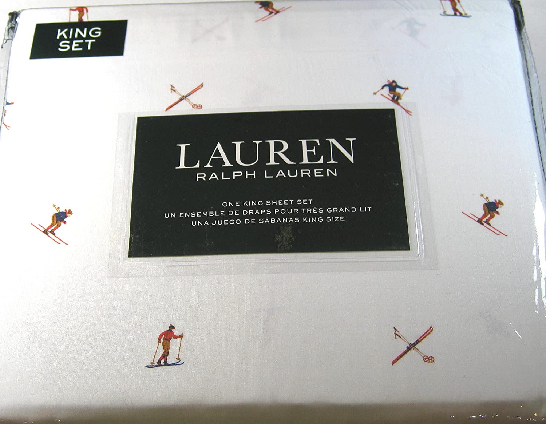 Lauren 4pc。Kingシートセット雪スキー選手100 %コットンホワイト B076FSBF6W