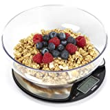 Duronic KS3000 Stainless Steel Round Digital Display 5KG Kitchen Scales with 18.5cm Diameter Clear Mixing Bowl
