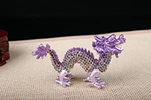 znewlook Crystal Chinese Dragon Statue Dragon Feng Shui Items (Purple)