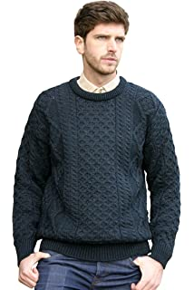 4a4d245278c474 West End Knitwear Other Brands Merino Wool Traditional Irish Aran Crew Neck  Sweater