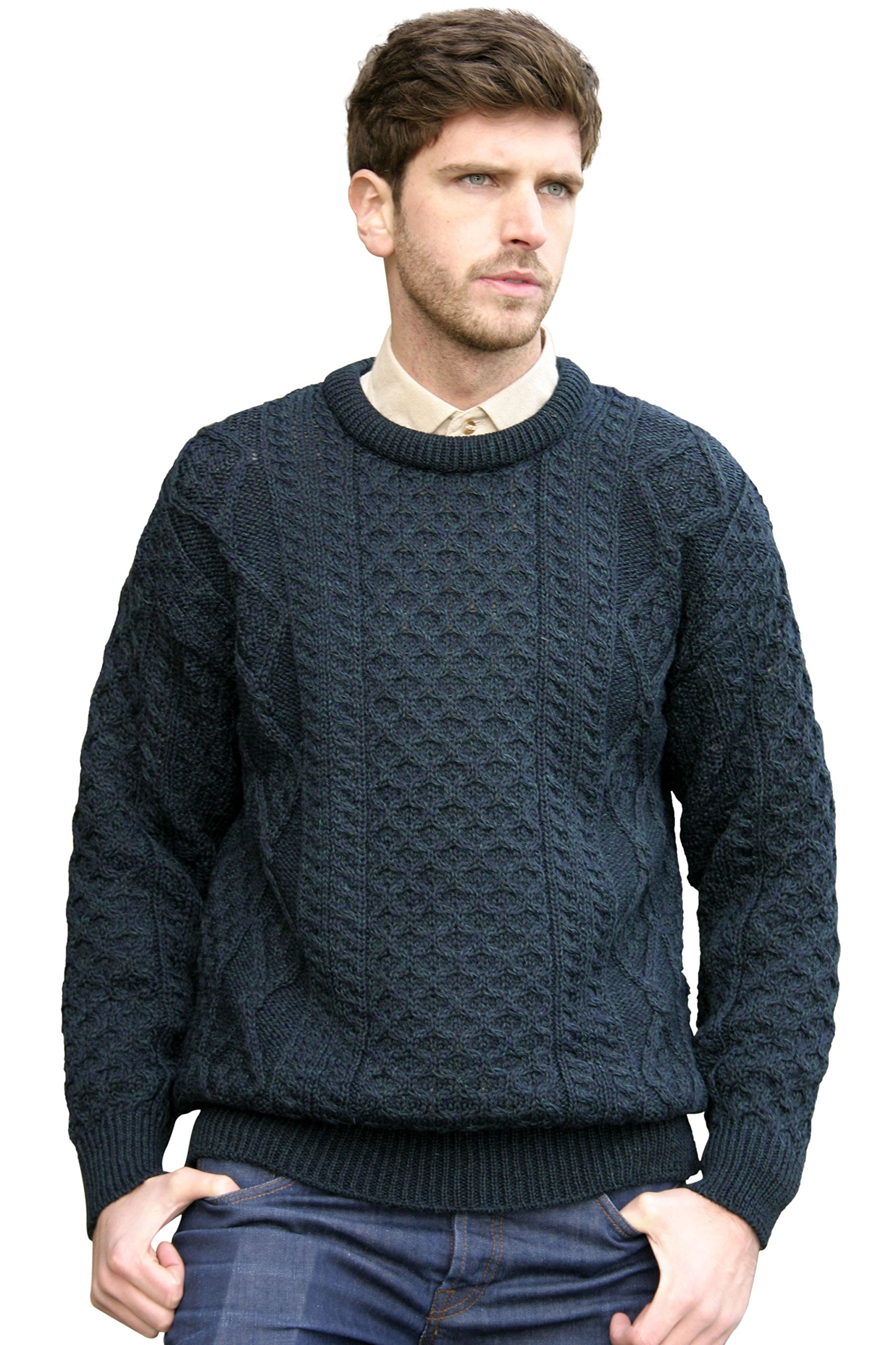 1a95b70954d216 West End Knitwear Other Brands Merino Wool Traditional Irish Aran Crew Neck  Sweater