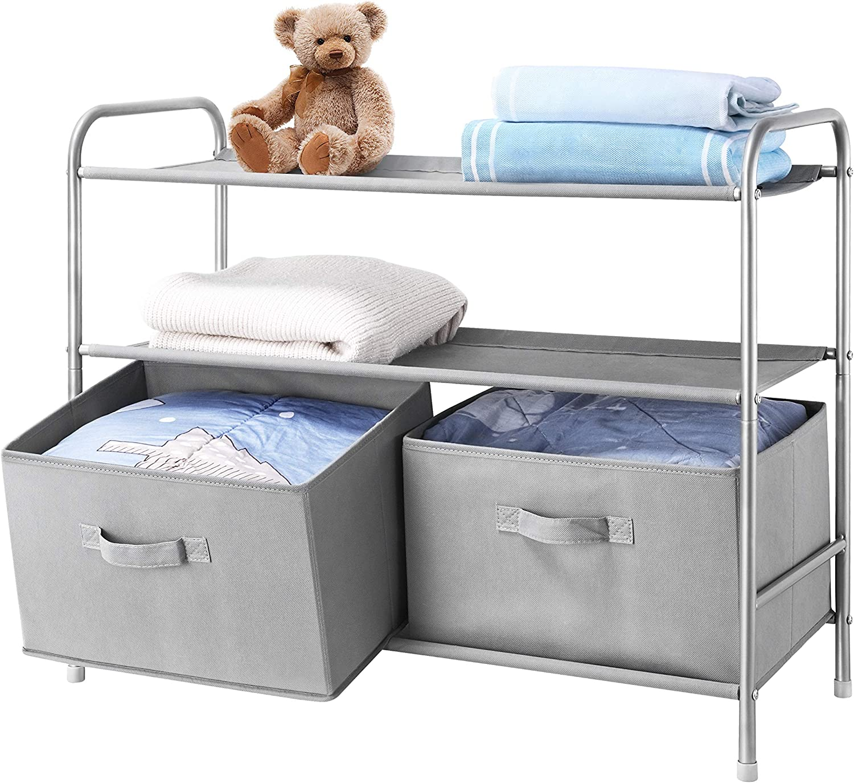 MAX Houser 3-Tier Fabric Closet Storage with 2 Drawers, Closet Shelf Organizer with Bins for Home Storage, Light Grey