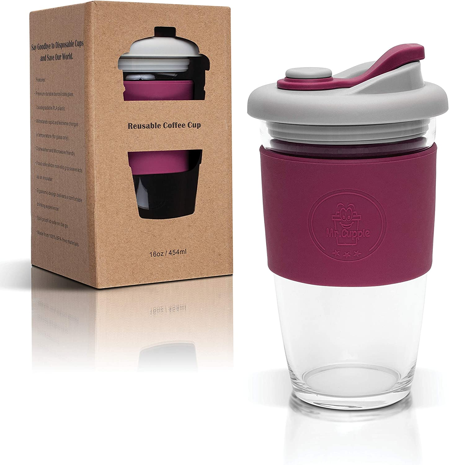 Mr.Cuppie Glass Reusable Coffee Cup with Lid, Travel Mug with Non-slip Sleeve Dishwasher and Microwave Friendly, Portable Glass Tumbler Eco-Friendly, 16oz