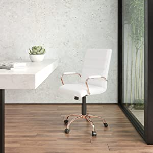 Flash Furniture Mid-Back White LeatherSoft Executive Swivel Office Chair with Rose Gold Frame and Arms
