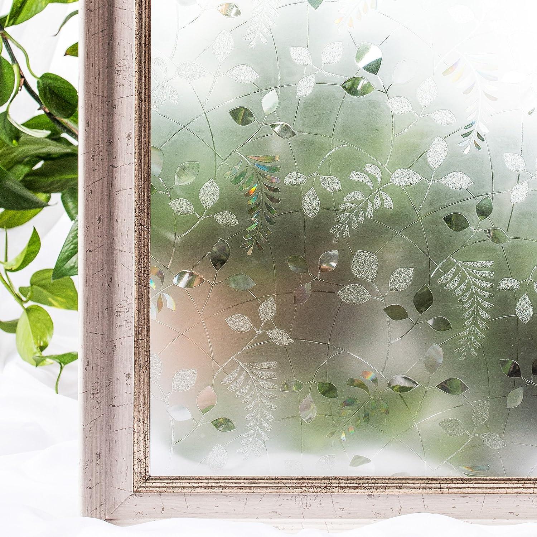CottonColors 窓用フィルム 目隠しシート 何度も貼直せる 紫外線カット 遮熱 90x200cm ガラスフィルム ステンドグラス [葉025] B00KM5Q05C葉025(在庫切れ) 90x200cm