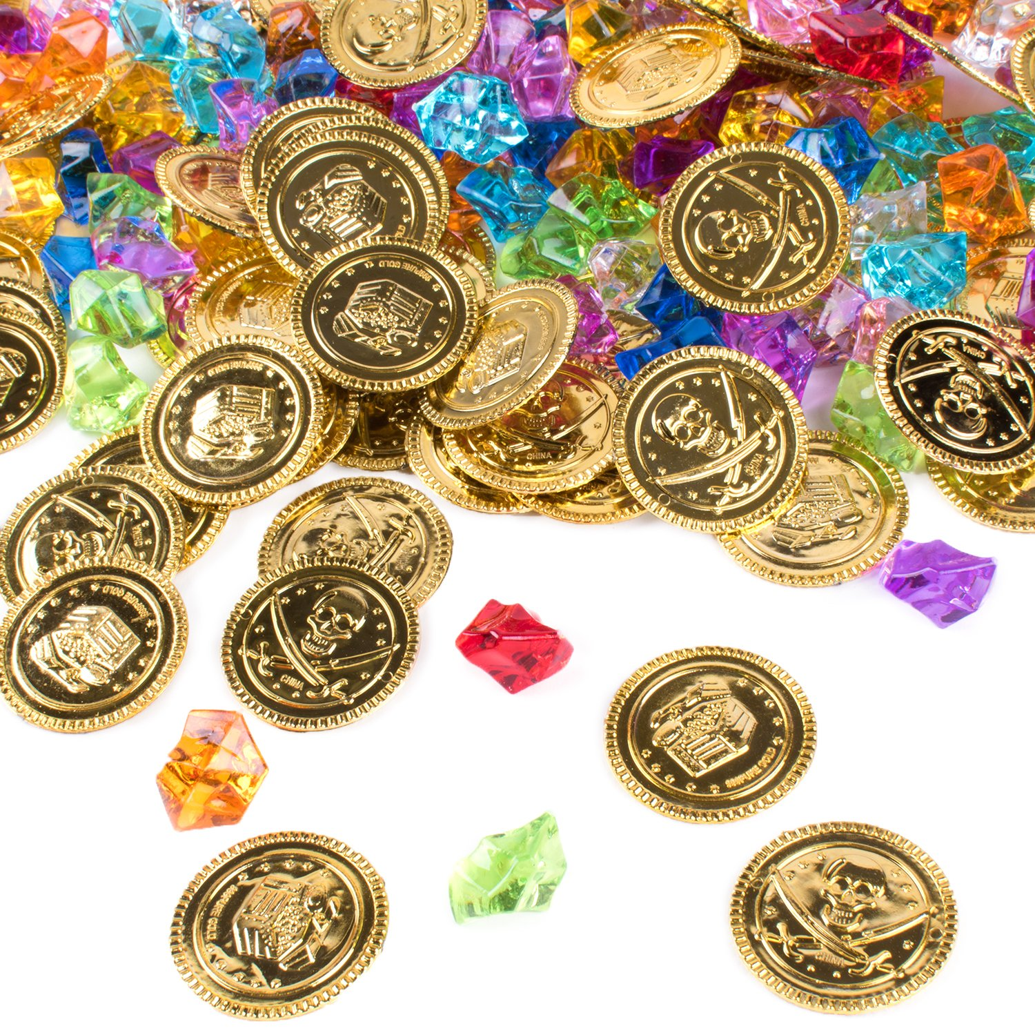 Super Z Outlet Pirate Gold Coins Buried Treasure and Pirate Gems Jewelry Playset Activity Game Piece Pack Party Favor Decorations (120 Coins + 120 Gems)