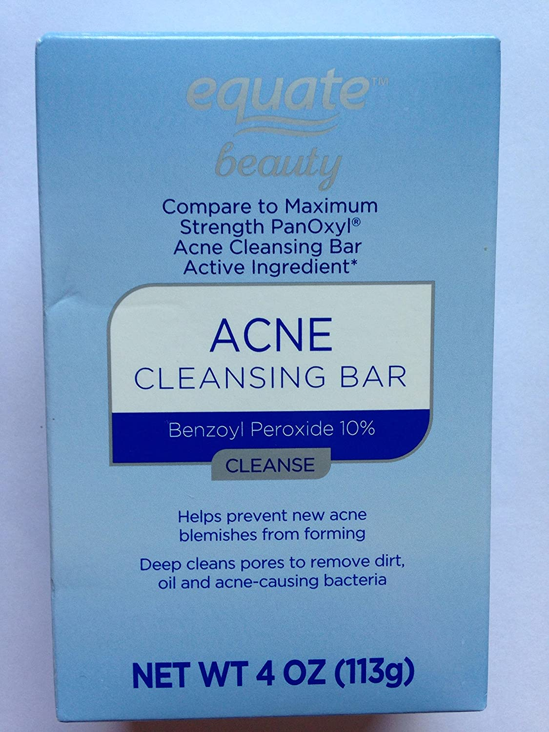 EQUATE ACNE CLEANSING BAR BENZOYL PEROXIDE 10% COMPARE TO PANOXYL