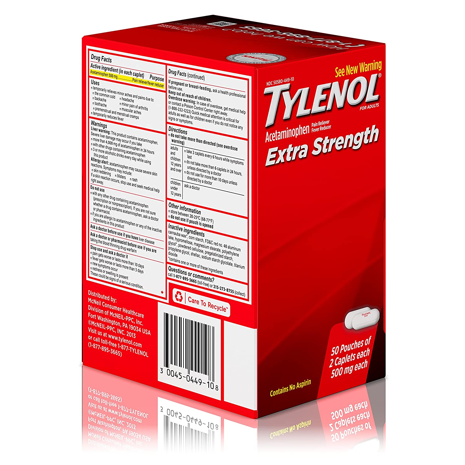 Amazon.com: Tylenol Extra Strength Caplets, Fever Reducer and Pain  Reliever, 500 mg, 50 ct., Pack of 2: Prime Pantry