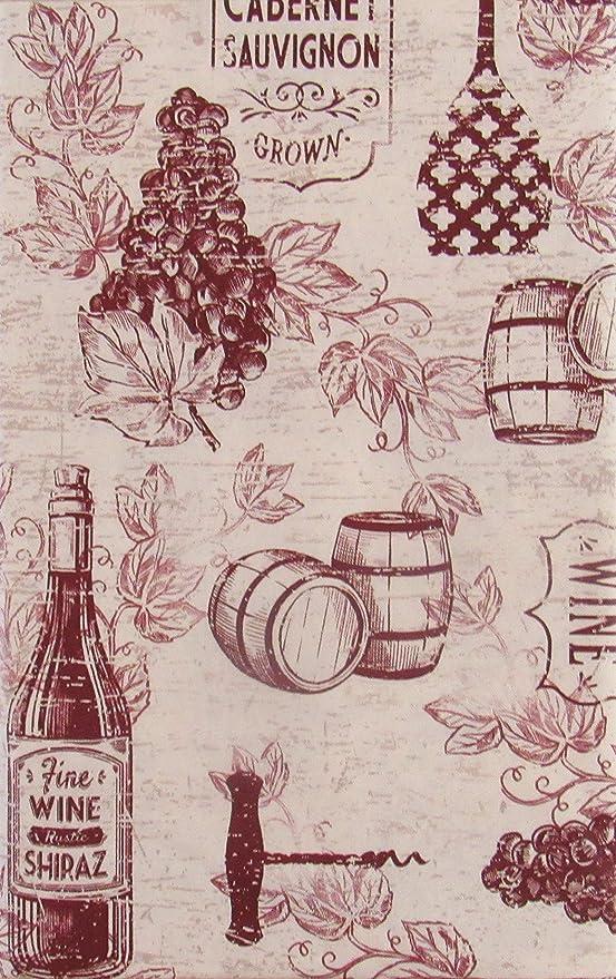 Vintage Wine Grapes and Corkscrews Vinyl Flannel Back Tablecloth 52 x 70 Oblong