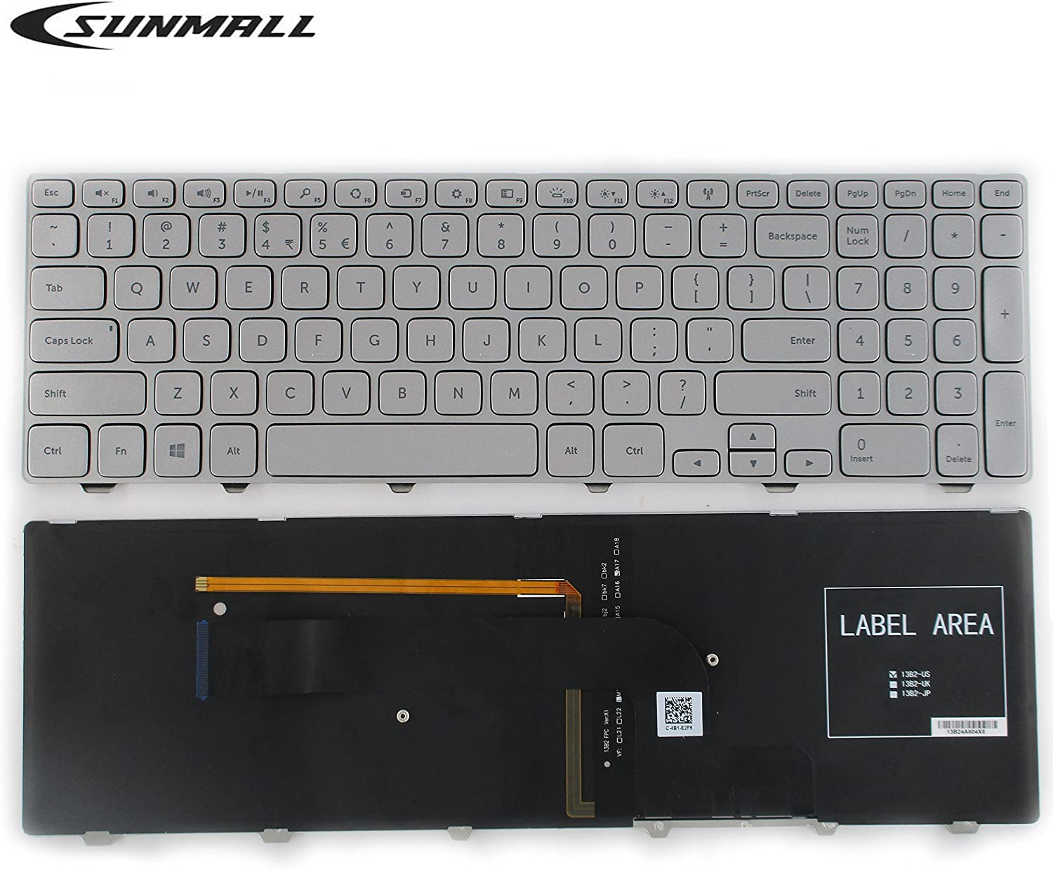 SUNMALL New Laptop Keyboard with Frame and Backlit Compatible with Dell Inspiron 15-7000 15-7537 Series Silver US Layout