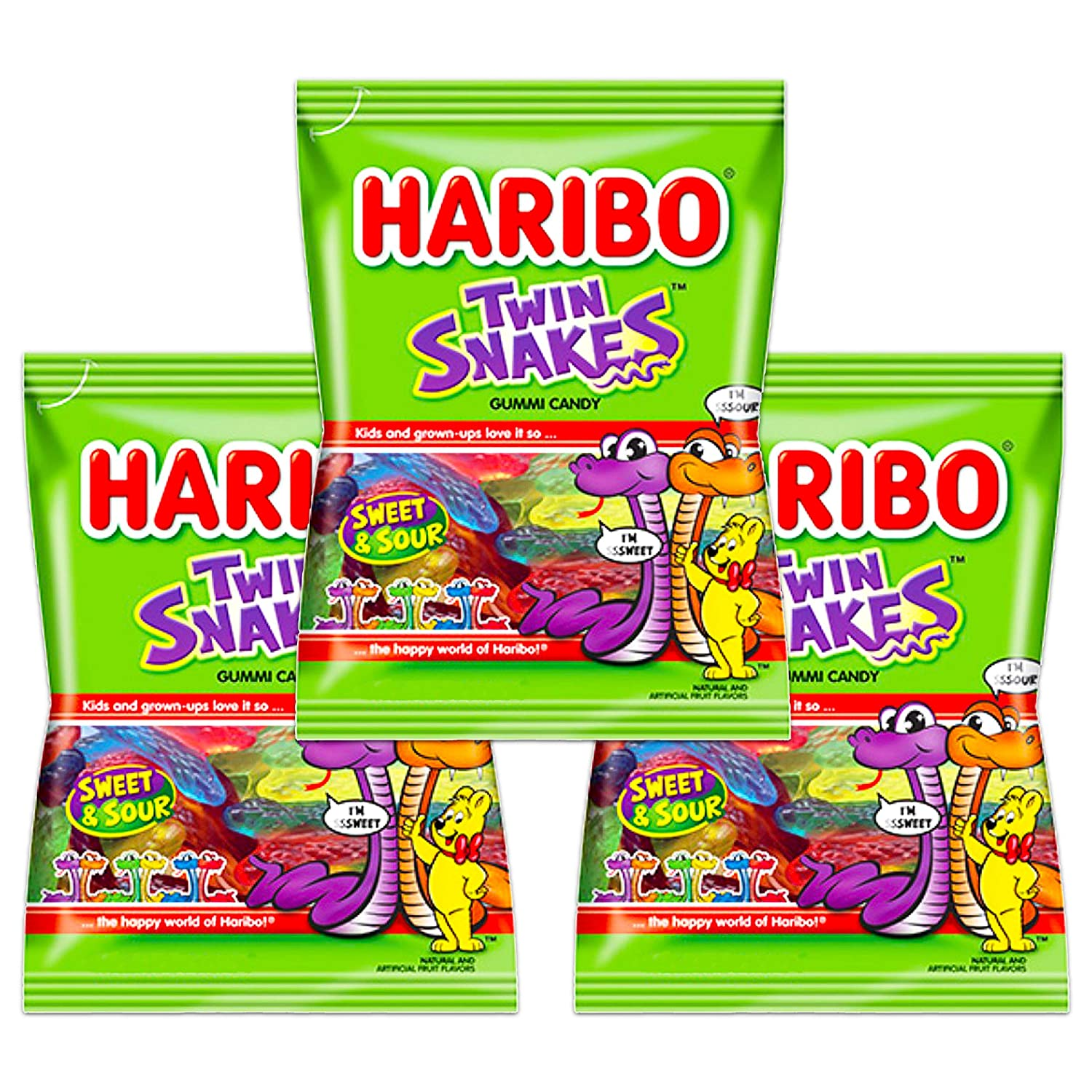 Haribo Twin Snakes Sweet & Sour Gummi Candy 4oz Bag (Pack of 3)