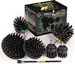 Drillbrush Ultimate Grill Cleaning Kit with Extension - Drill Brush – Rust Remover - Mineral Deposit- Grease Remover - Grill Scraper - Electric Smoker - Grill Accessories - BBQ Tools - Grill Brush