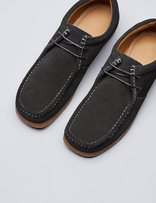 FIND Veloursleder, Schuhe Herren Wallabees aus Veloursleder, FIND mit Kontrastnaht, Schwarz (schwarz), 42 EU 739b9a