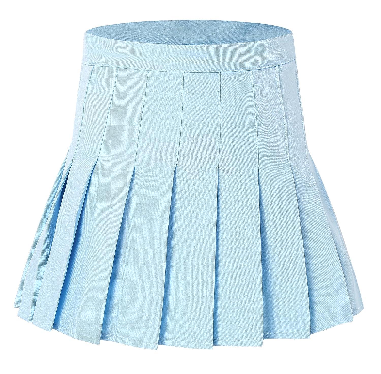 Tremour Women High Waist Pleated Mini Tennis Skirt Solid Short Skirts YDS8584