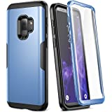 Galaxy S9 Case, YOUMAKER Metallic Blue with Built-in Screen Protector Heavy Duty Protection Shockproof Slim Fit Full Body Case Cover for Samsung Galaxy S9 5.8 inch (2018) - Blue/Black