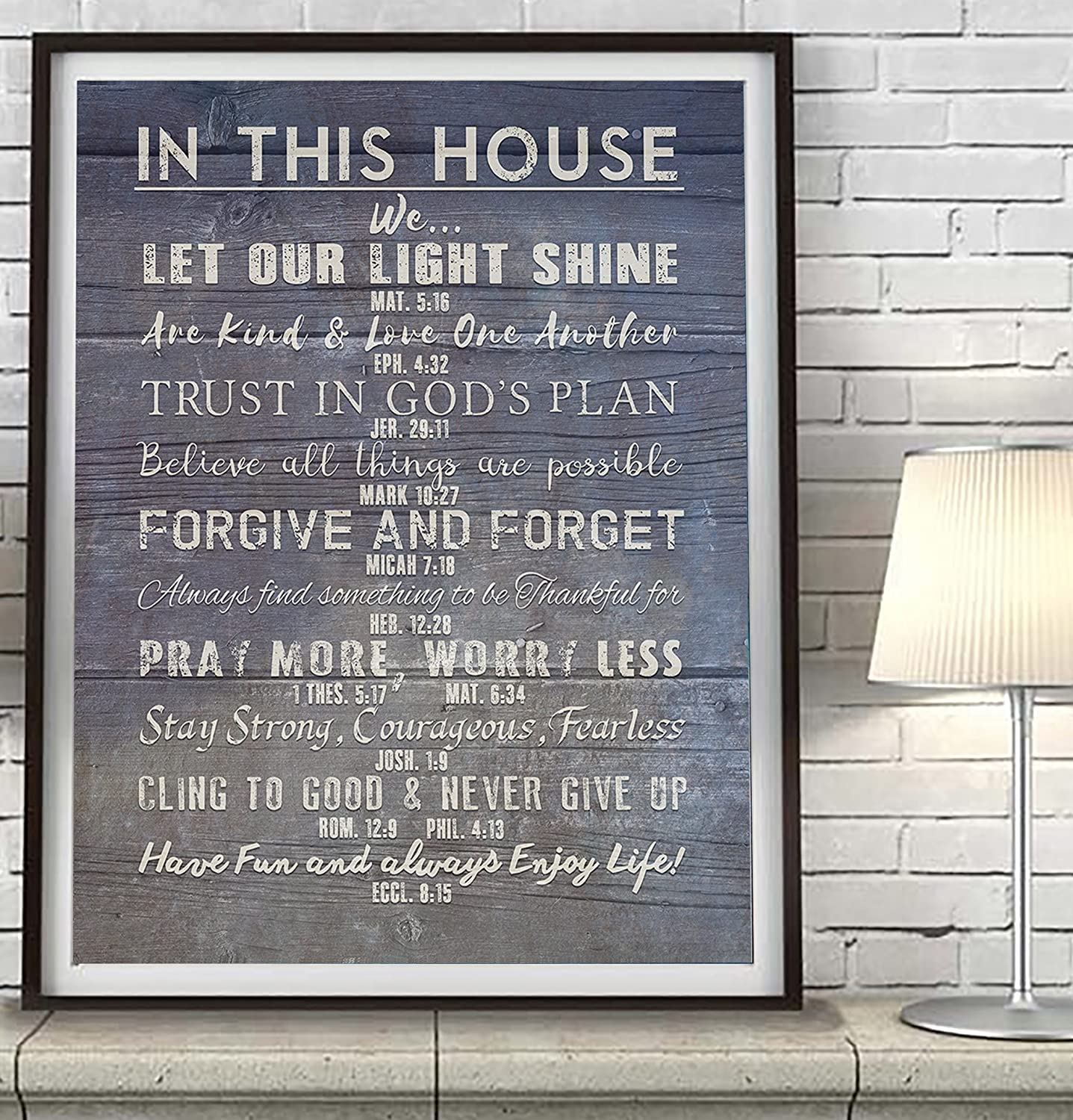 Amazoncom In This House Our Christian Bible Verse Family Rules Art