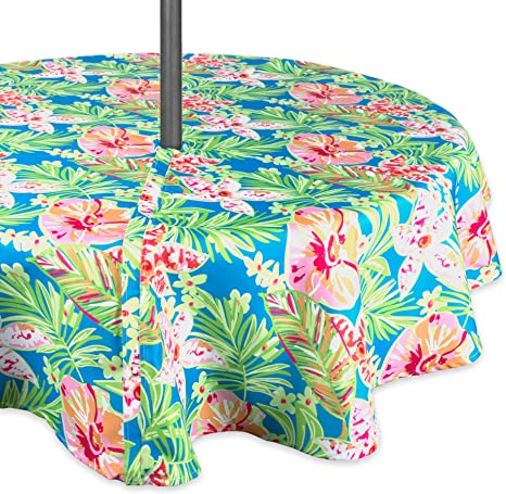 Amazon Com Dii Summer Floral Outdoor Tablecloth With Zipper 60 Round W Home Kitchen