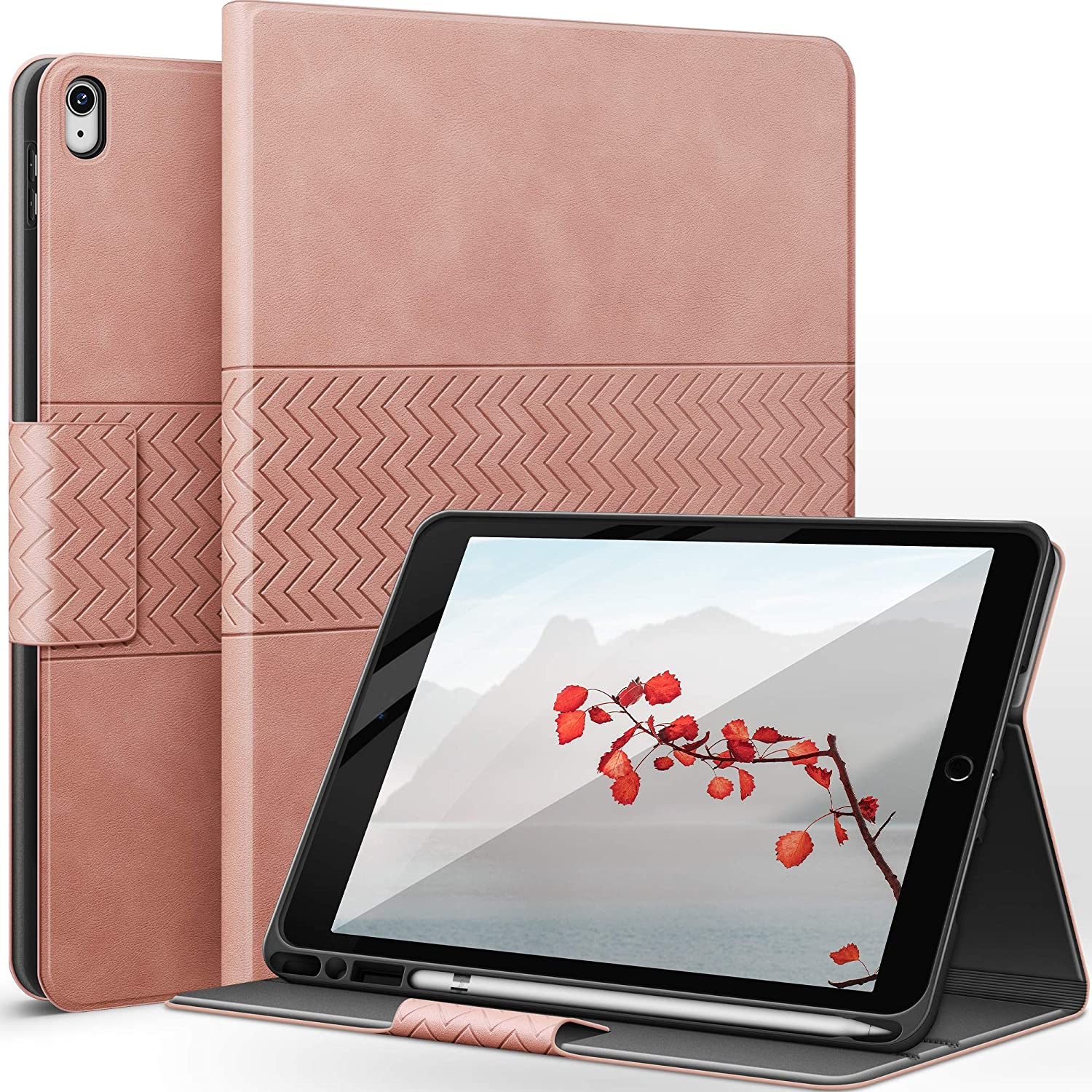 auaua iPad Air 3rd Generation Case/iPad Pro 10.5 Case with Built-in Apple Pencil Holder Auto Sleep/Wake Function Vegan Leather Smart Cover for iPad Air 3 10.5 Inch 2019/iPad Pro 10.5 2017 (Pink)