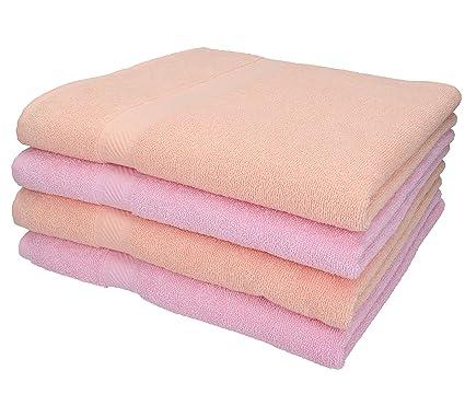 BETZ 4 unidades set toallas de ducha serie Palermo color rosa y albaricoque 100% algodon