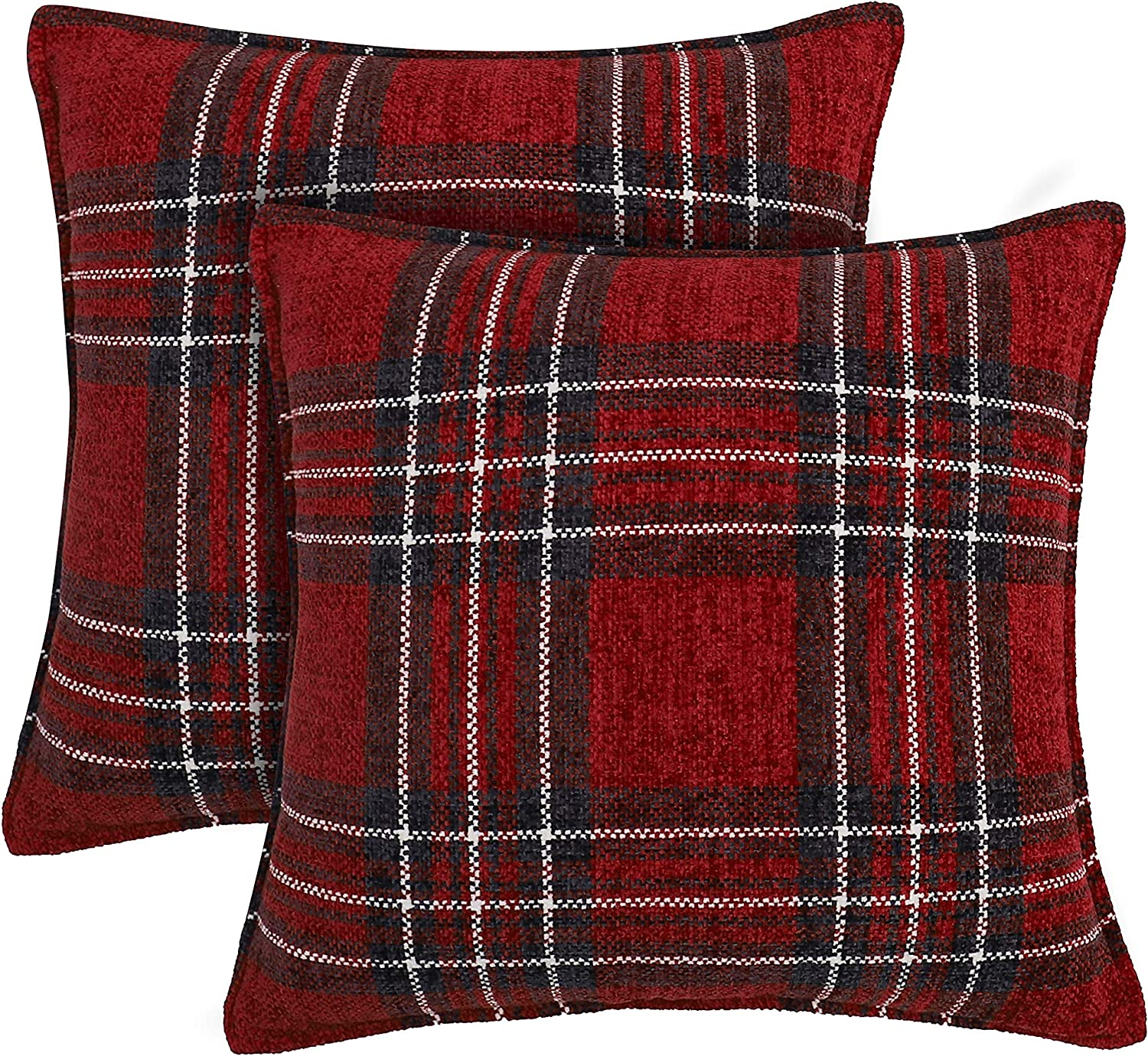 Muse Dream Christmas Holiday Pillow Covers Decorative Red and Navy Plaid Throw Square Pillow Cases 18x18 Set of 2,Soft Chenille Fabric Farmhouse Sofa Home Decor,Red Navy,18x18 inch