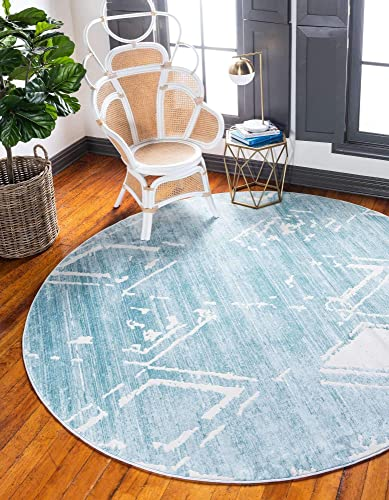 Unique Loom Uptown Collection by Jill Zarin Collection Geometric Modern Vintage Turquoise Round Rug 8 0 x 8 0