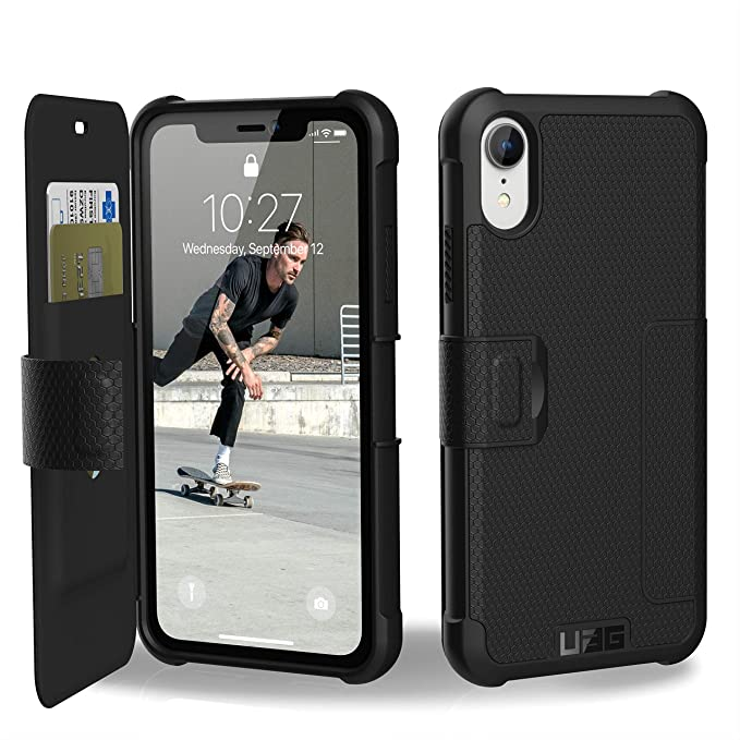 sports shoes ec667 7a691 URBAN ARMOR GEAR UAG iPhone XR [6.1-inch Screen] Metropolis Feather-Light  Rugged Folio [Black] Military Drop Tested iPhone Card Case