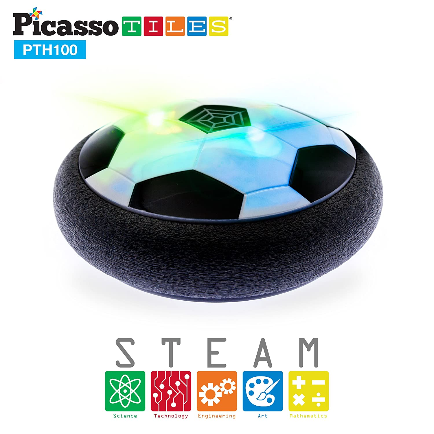 5b08060e3 PicassoTiles Soccer Hoverball Air Hockey Electric Power Airlifted Hover  Ball Gliding Sailing Floating Cushion Disc with LED Foam Bumper Soft Edge  Protector ...