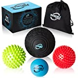 Deep Tissue Massage Balls, SET of 4, Self Myofascial Release, A Must for any Athlete, Special Bonus: Firm & Soft Spiky Trigger Point Balls, Includes Gift Box, Carry Bag + E-Book