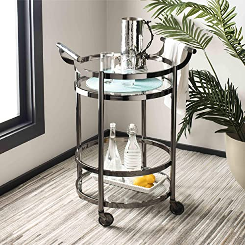 Safavieh Sienna Bar Cart, Black Nickel Glass