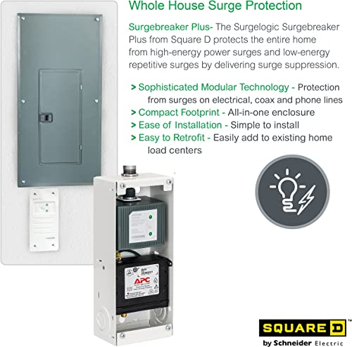 Square D by Schneider Electric SDSB80111 Surgebreaker Plus Whole House Surge Protector 120 240-volt with Cable, Telephone, and Ethernet Protection