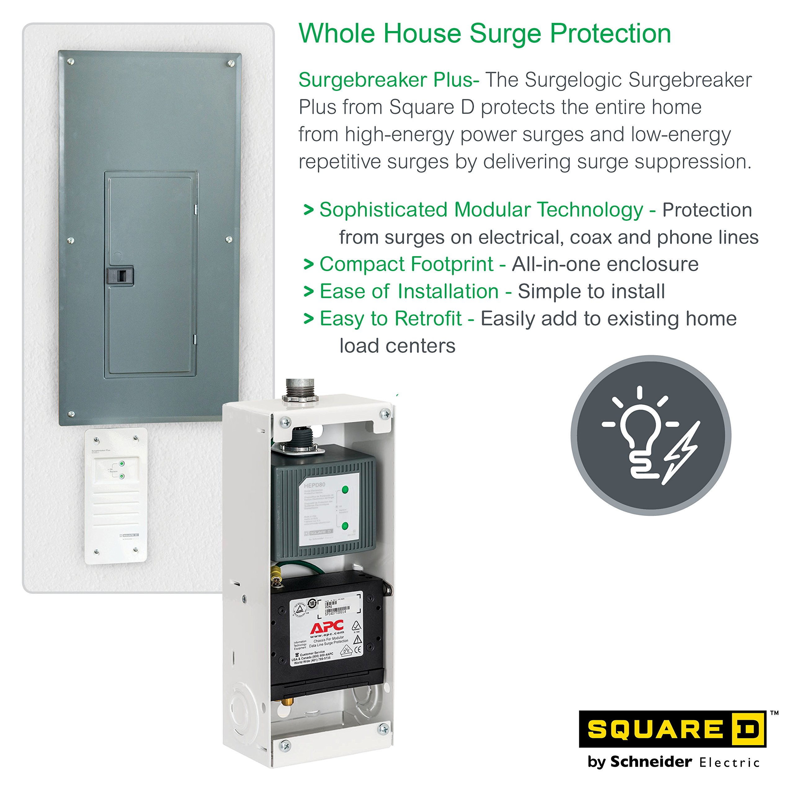 Square D by Schneider Electric SDSB80111 Surgebreaker Plus Whole House Surge Protector 120/240-volt with Cable, Telephone, and Ethernet Protection by Square D by Schneider Electric