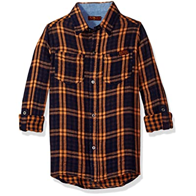 7 For All Mankind Big Boys' Woven Plaid Shirt