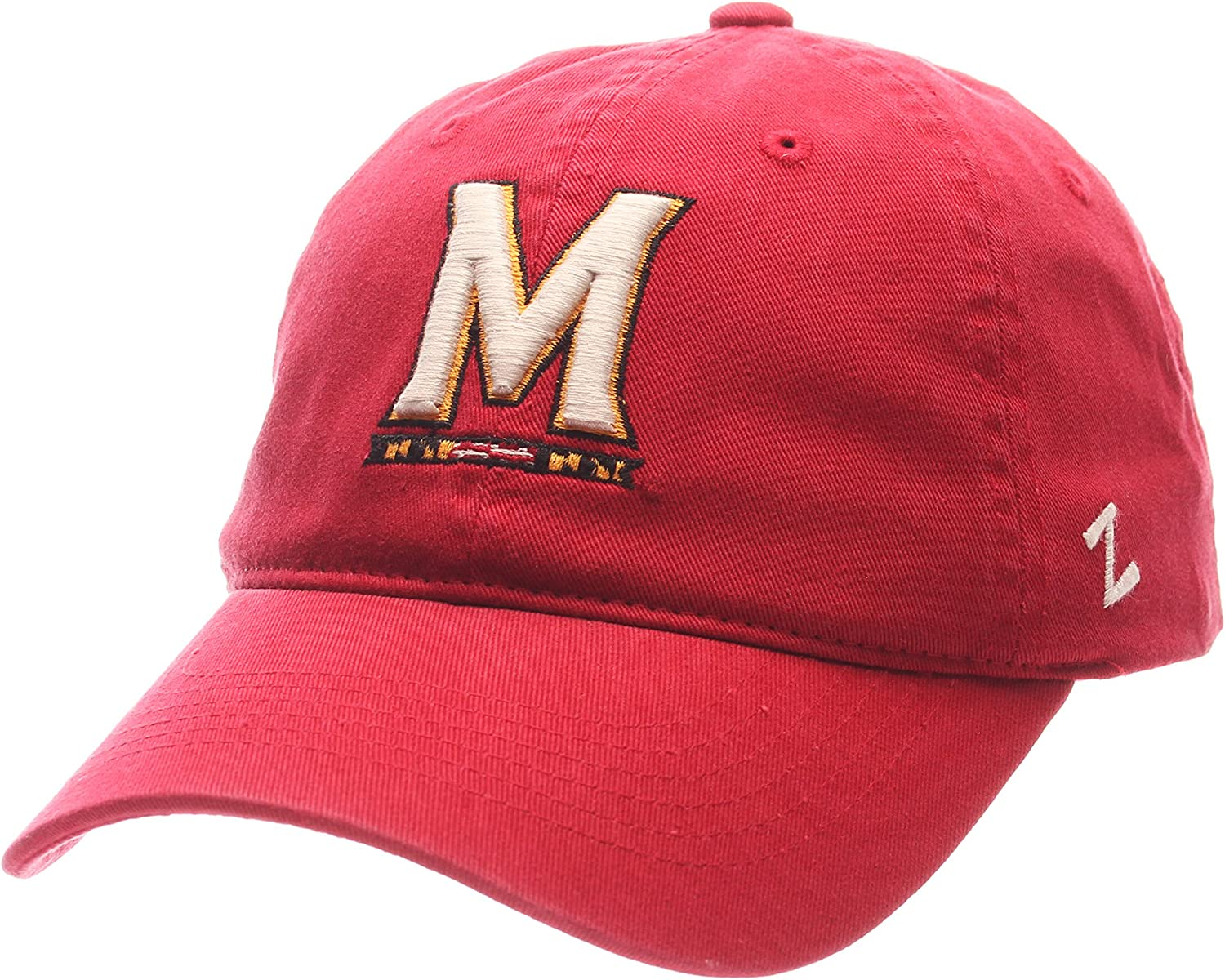 Adjustable NCAA Zephyr Maryland Terrapins Mens University Relaxed Hat Team Color//Stone