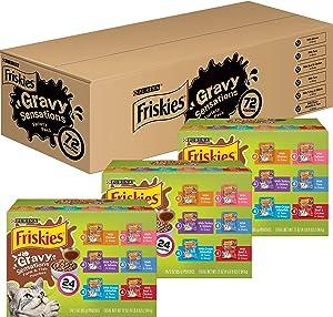 Purina Friskies Gravy Wet Cat Food Variety Pack, Gravy Sensations Farm & Fish Pouches - (3 Packs of 24) 3 oz. Pouches
