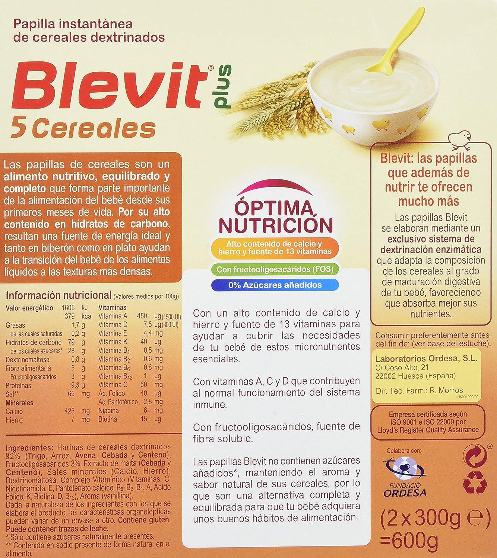 Blevit Plus 5 Cereales - Paquete de 2 x 300 gr - Total: 600 gr: Amazon.es: Amazon Pantry