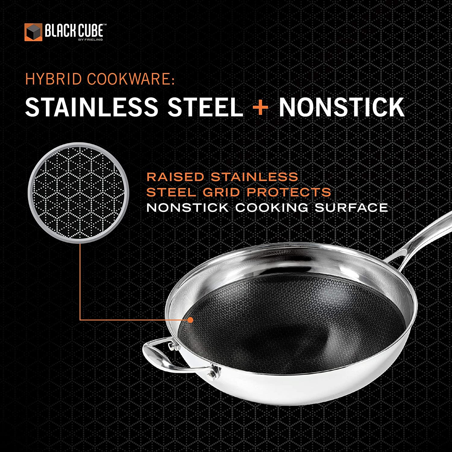 Amazon Com Black Cube Hybrid Stainless Steel Wok With Nonstick Coating And Helper Handle 12 5 Inches Kitchen Dining