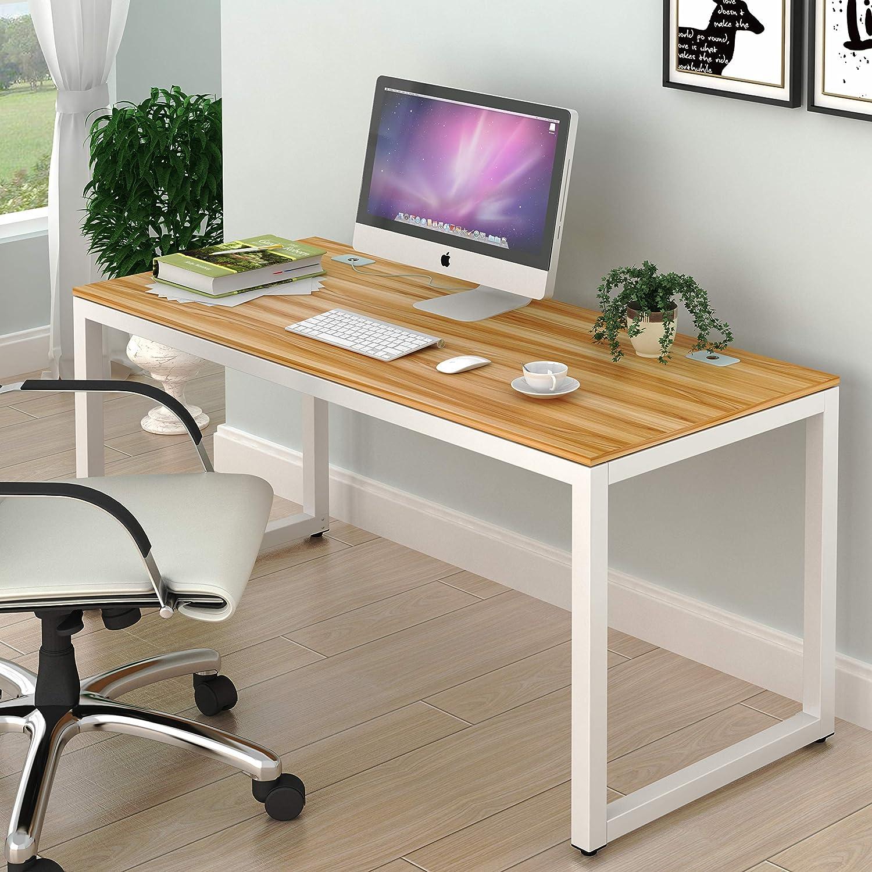 SHW Home Office 55-Inch Large Computer Desk, Walnut