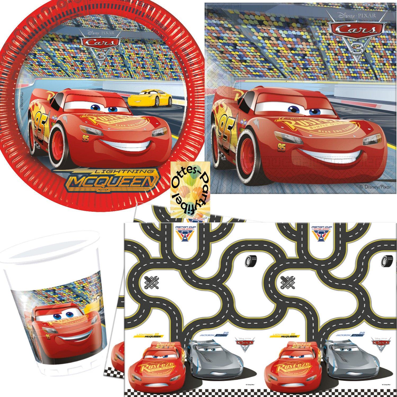 für 8 Kinder Teller Becher Servietten Disney CARS Kinder Geburtstag Party
