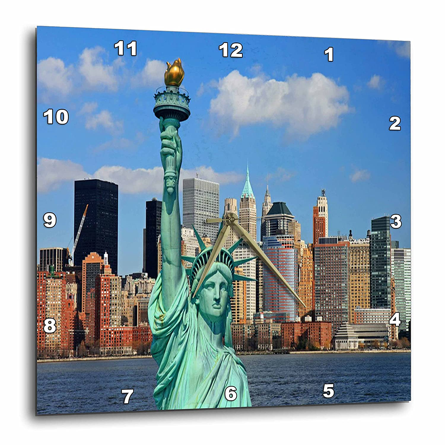 3dRose dpp/_50916/_1 NYC Statue of Liberty Wall Clock 10 by 10-Inch