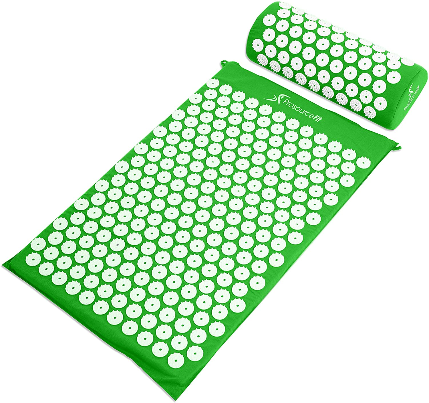 Acupressure Mat and Pillow Set for Back/Neck Pain Relief and Muscle Relaxation - Green
