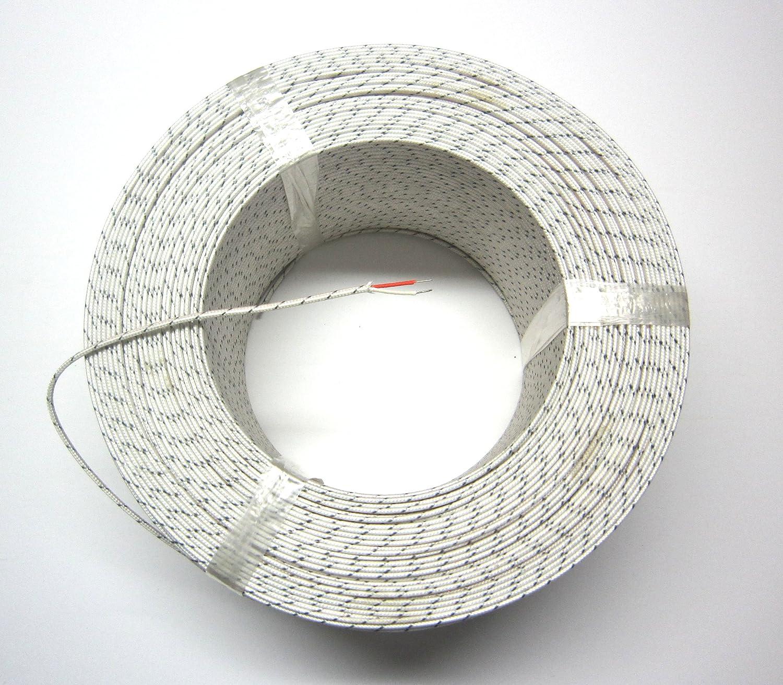 J-Type Thermocouple Wire AWG 24 Solid w Braided Fiberglass Insulation 10 Yard