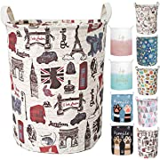 Merdes 19.7'' Waterproof Foldable Laundry Hamper, Dirty Clothes Laundry Basket, Linen Bin Storage Organizer for Toy Collection (London)