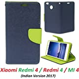 RidivishN Mi Redmi 4 / Xiaomi redmi 4 / Redmi 4 Compatible Flip Cover Case Wallet Style ( Blue,Green)