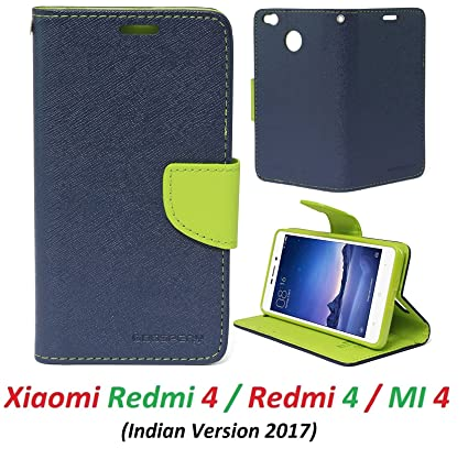 new concept 4966b f4be2 RidivishN Wallet Style Flip Cover Case for Xiaomi Redmi 4 (Blue,Green)