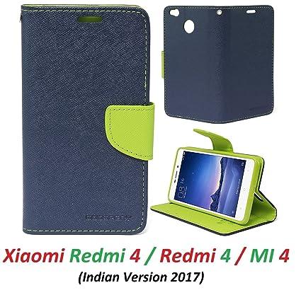 new concept e7bed ecce6 RidivishN Wallet Style Flip Cover Case for Xiaomi Redmi 4 (Blue,Green)