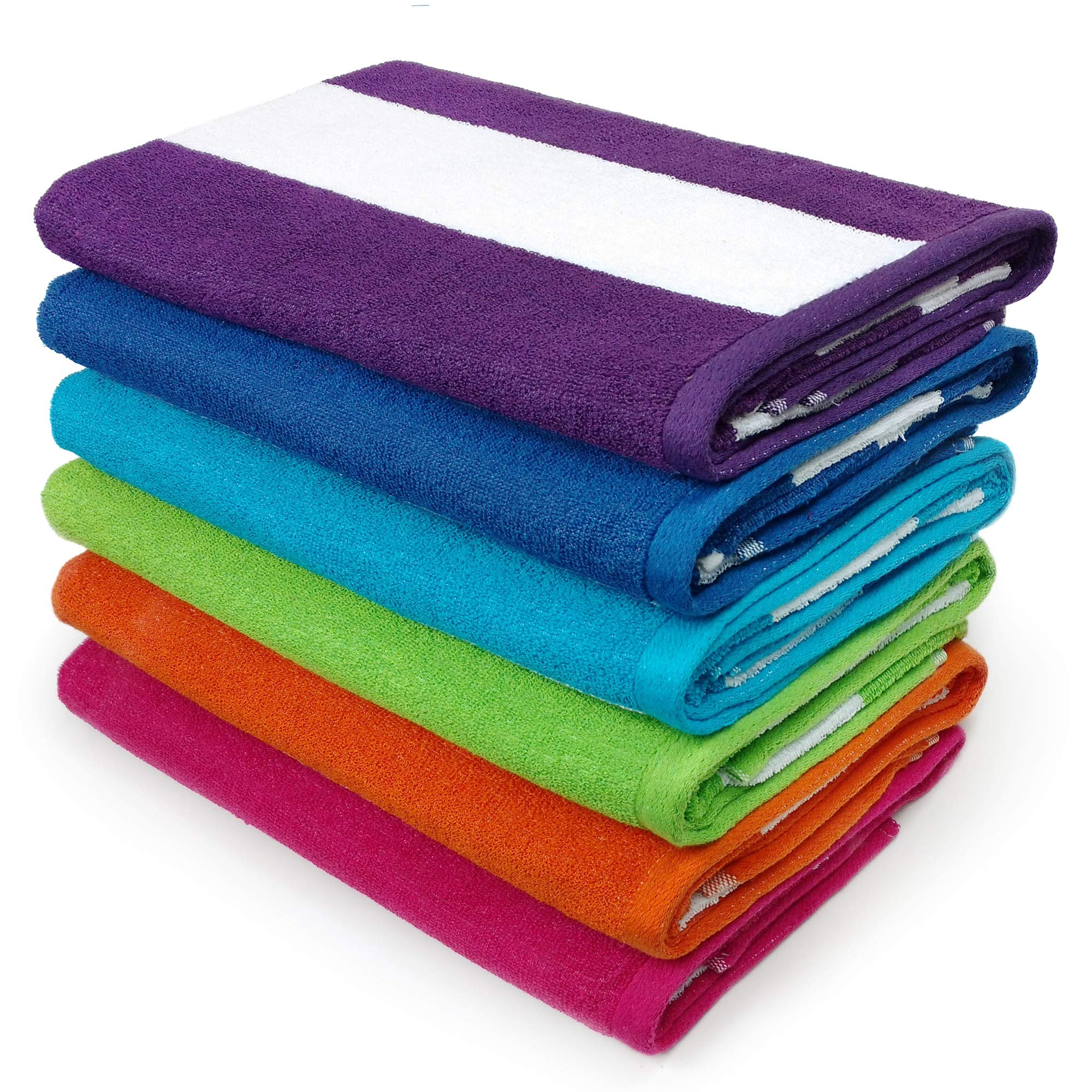 KAUFMAN - Cabana Terry Loop Beach & Pool Towel 6-Pack - 30in x 60in